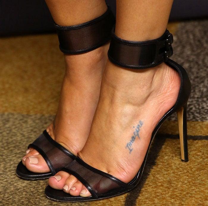 """Lea Michele's """"imagine"""" foot tattoo in Casadei sandals"""