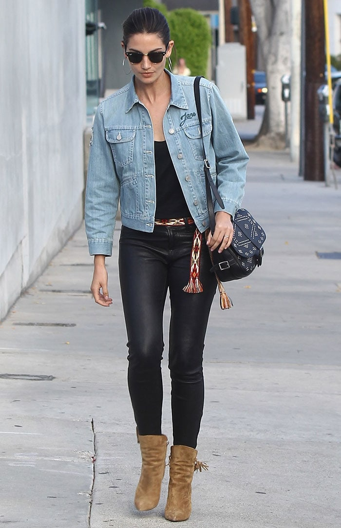 Lily-Aldridge-denim-jacket-black-tank-top-leather-skinny-pants