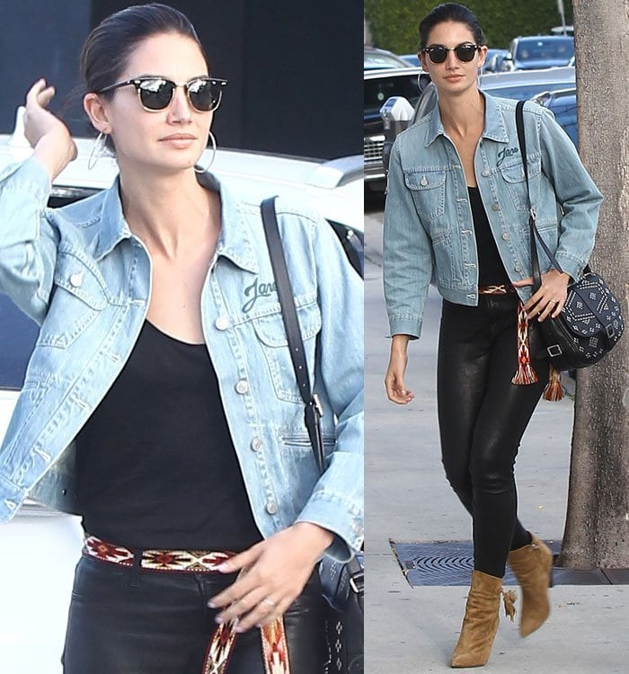 Lily-Aldridge-denim-jacket-leather-pants-boots