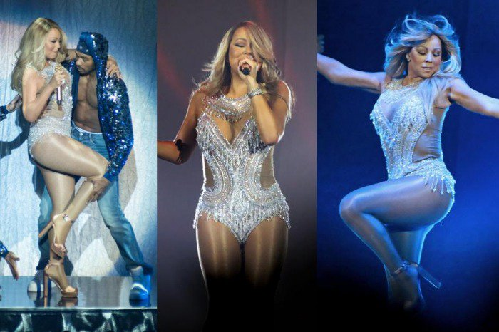 Mariah Carey flaunts her figure in a bedazzled bodysuit