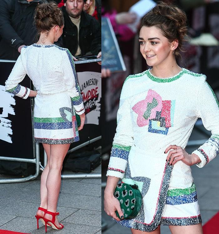 Maisie-Williams-Sadie-Williams-long-sleeve-printed-sequin-top-skirt