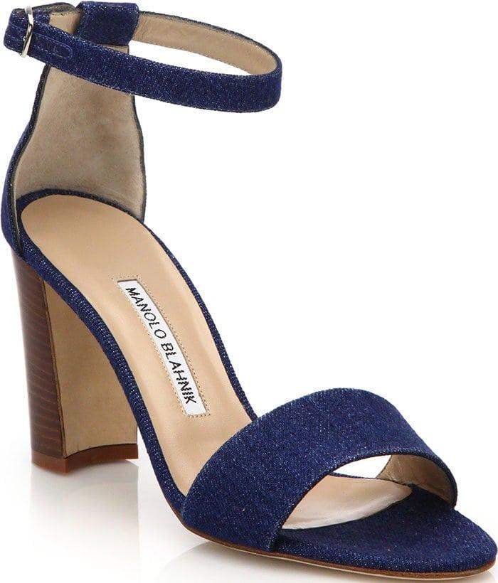 Manolo Blahnik Lauratopri Ankle-Strap Sandals Blue