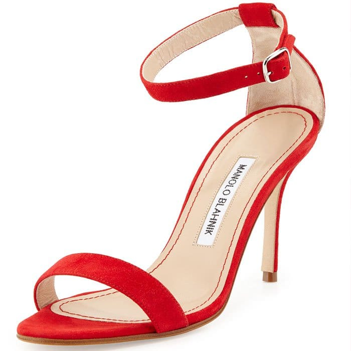 Manolo Blahnik 'Chaos' Sandal in Red Suede