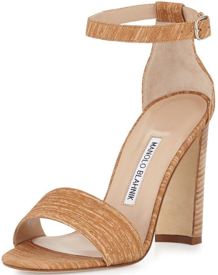 Manolo Blahnik Lauratopri Ankle-Wrap 105mm Sandal
