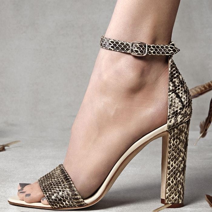 Manolo Blahnik Lauratopri Watersnake Chunky-Heel Sandal