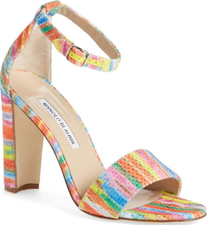 Manolo Blahnik Lauratopri Ankle-Strap Sandals Colorful