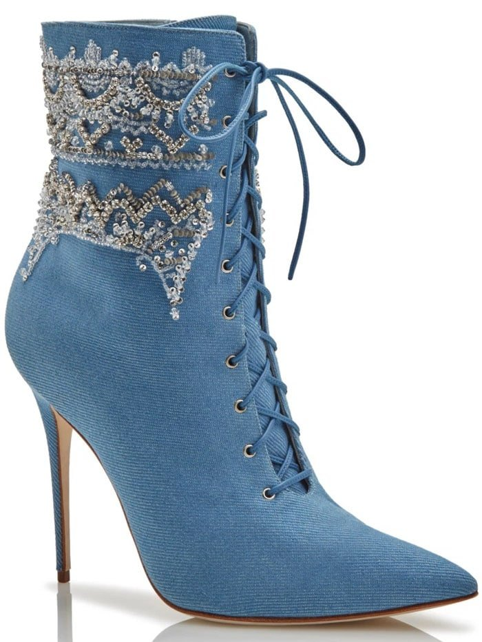 Manolo Blahnik x Rihanna lace-up booties