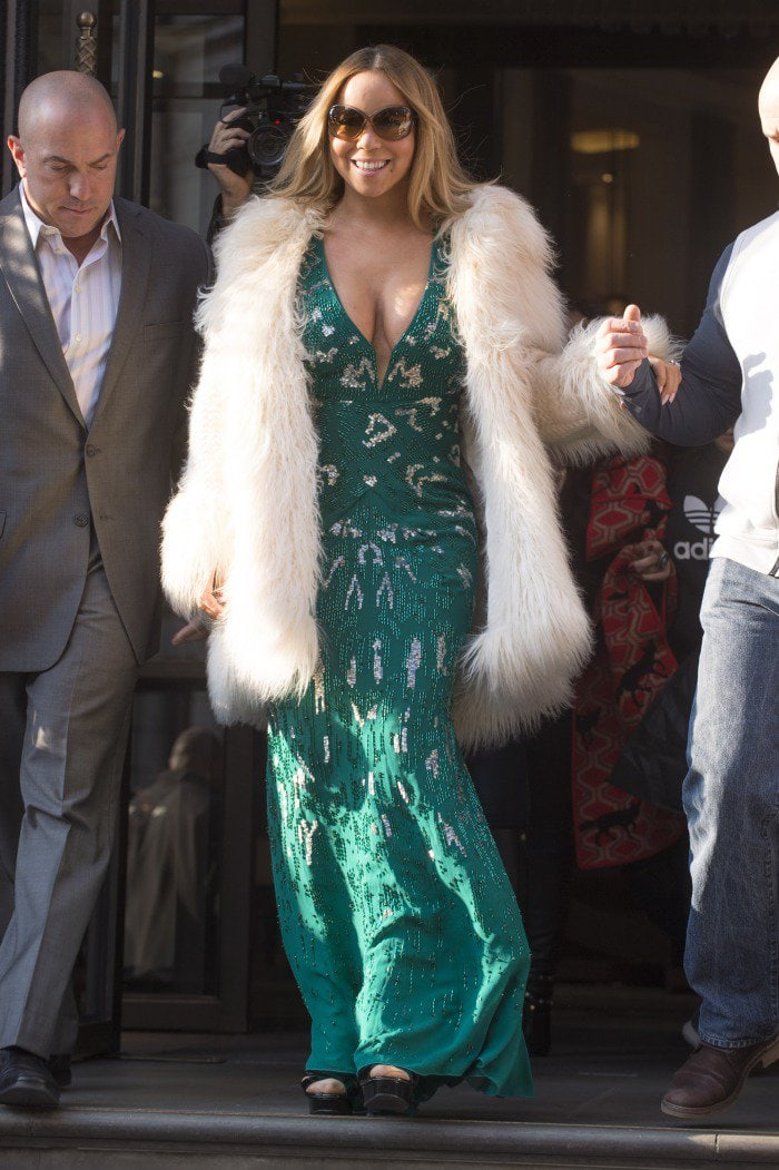 Mariah Carey wears a glittery green Roberto Cavalli frock out for St. Paddy's Day