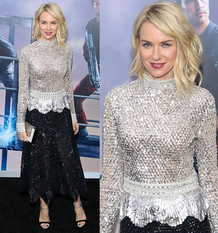 Naomi-Watts-Derek-Lam-silver-embellished-top-black-skirt