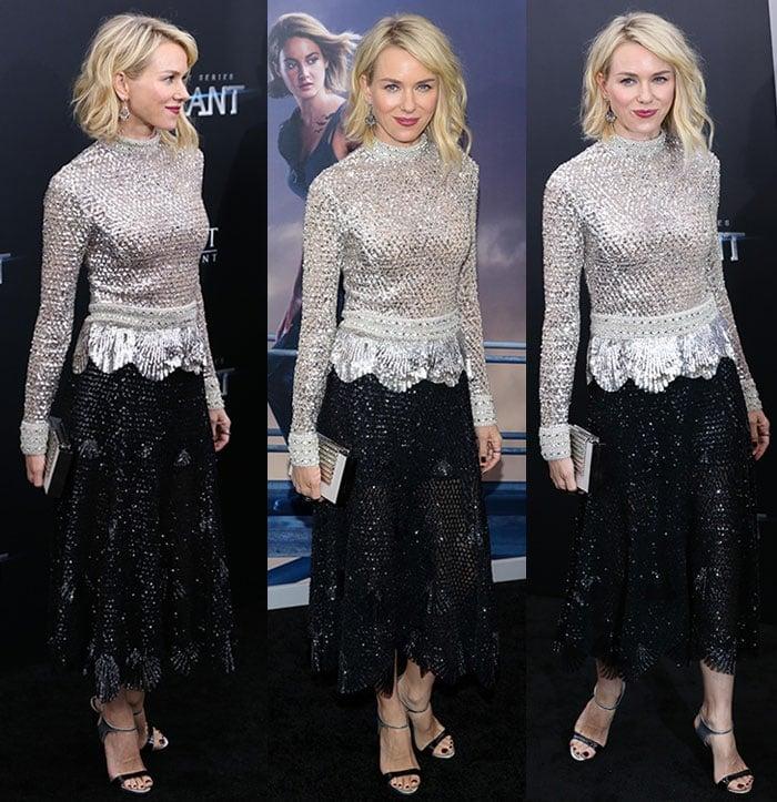 Naomi-Watts-heavily-embellished-silver-top-black-skirt