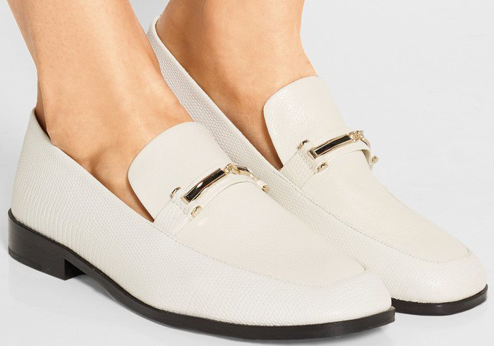 Newbark Melanie textured and lizard-effect leather loafers