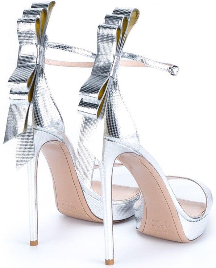 Nicholas Kirkwood Bow Embellished Metallic Leather Sandals Back
