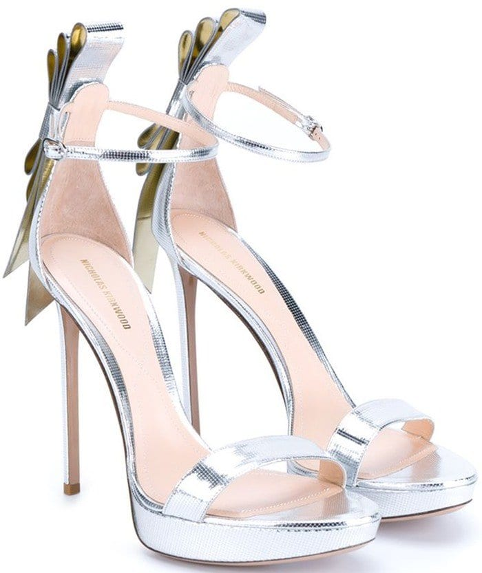 Nicholas Kirkwood Bow Embellished Metallic Leather Sandals