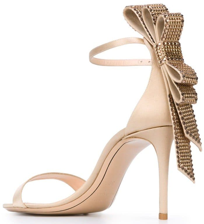 Nude silk and leather 'Faye' sandals from Nicholas Kirkwood back