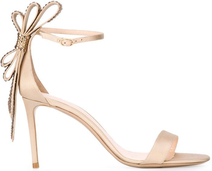 Nude silk and leather 'Faye' sandals from Nicholas Kirkwood