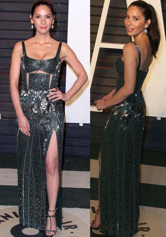 Olivia Munn wears a green floor-length J. Mendel gown