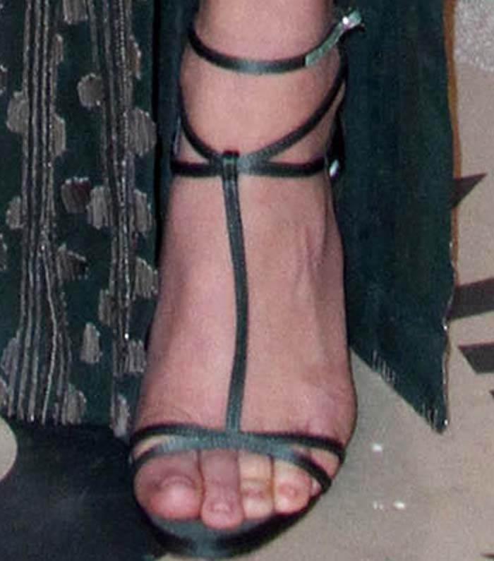 Olivia Munn's feet in green satin Christian Louboutin sandals
