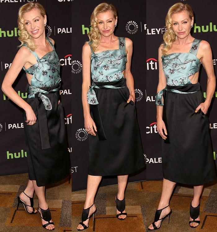 Portia-de-Rossi-Phillip-Lim-cutout-blue-black-satin-dress