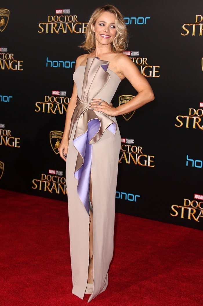 Rachel McAdams turned heads in a strapless silver gown from Atelier Versace's Fall 2016 collection at the premiere of her new film Doctor Strange in Los Angeles on October 20, 2016