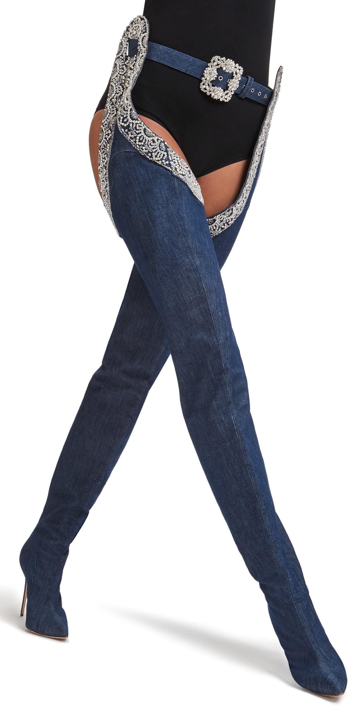 Rihanna's 9-to-5 Manolo Blahnik denim boots