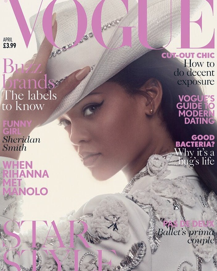Rihanna channels her inner country girl on the cover of British Vogue's April 2016 issue