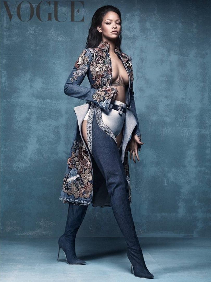 "Rihanna promoting her ""Denim Desserts"" footwear collaboration with Manolo Blahnik in Vogue"