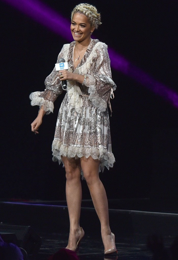 Rita-Ora-Etro-Printed-Lace-Trim-Dress