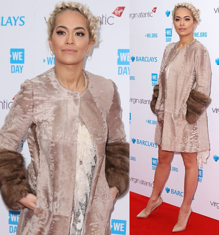 Rita-Ora-Etro-Printed-Silk-Dress-Fur-Trim-Coat