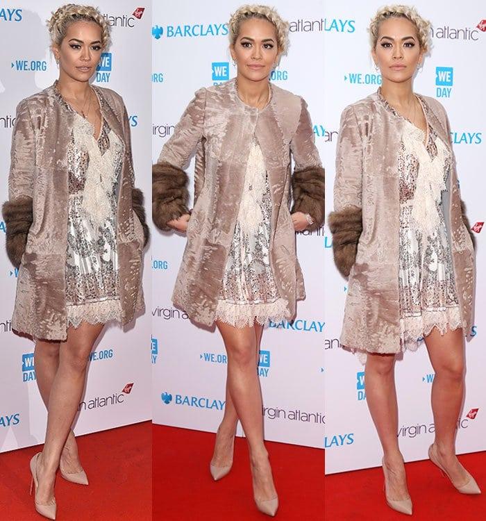 Rita-Ora-legs-Etro-dress-fur-trim-coat-WE-Day