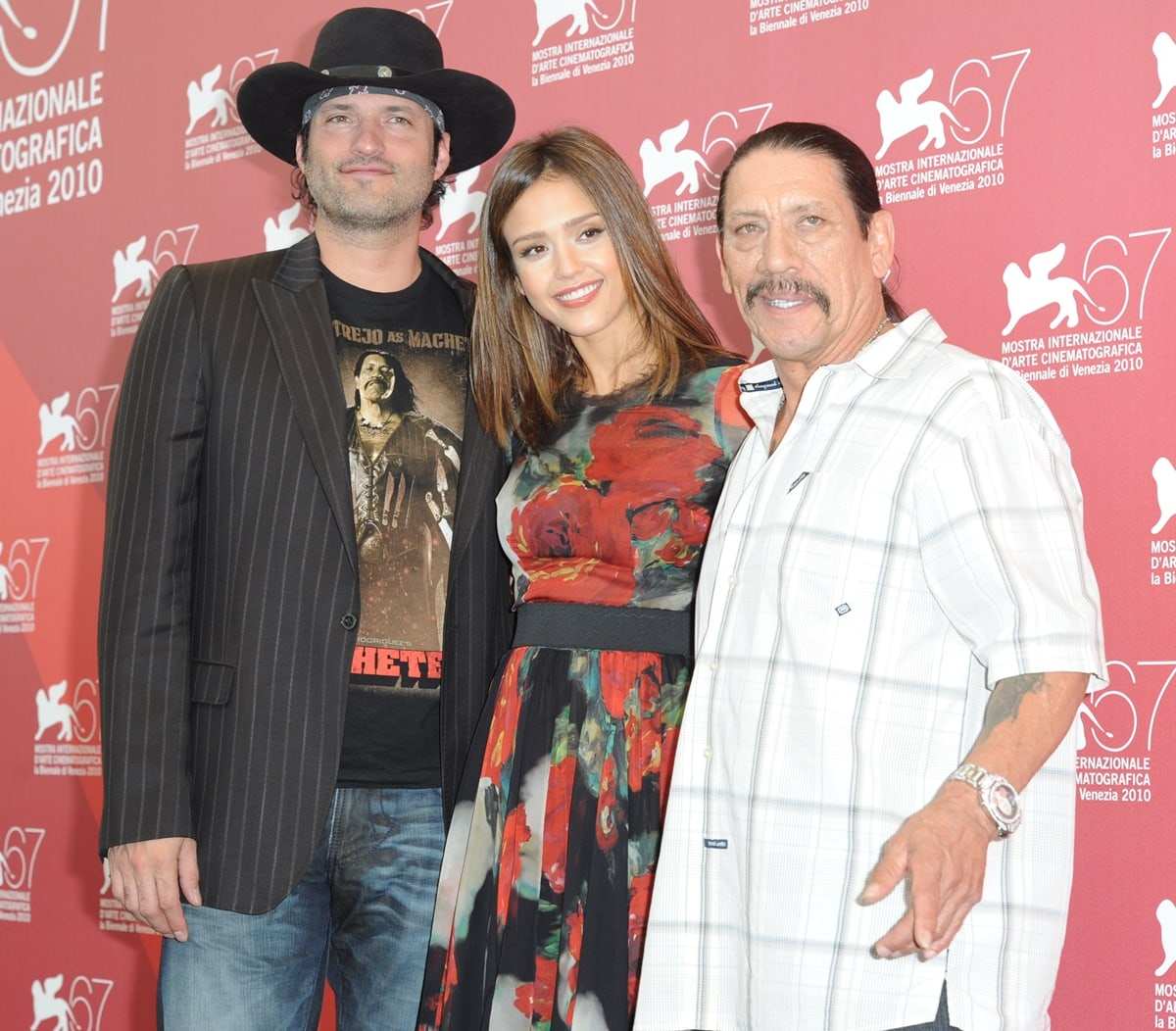 """Director Robert Rodriguez, Actress Jessica Alba and Actor Danny Trejo attends the """"Machete"""" photocall"""