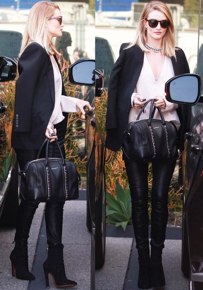 Rosie Huntington-Whiteley finishes her chores in a gorgeously styled casual outfit