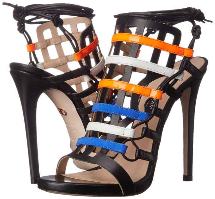 This gladiator sandal features cage-style upper with multicolored stripes and ghillie lacing at each side