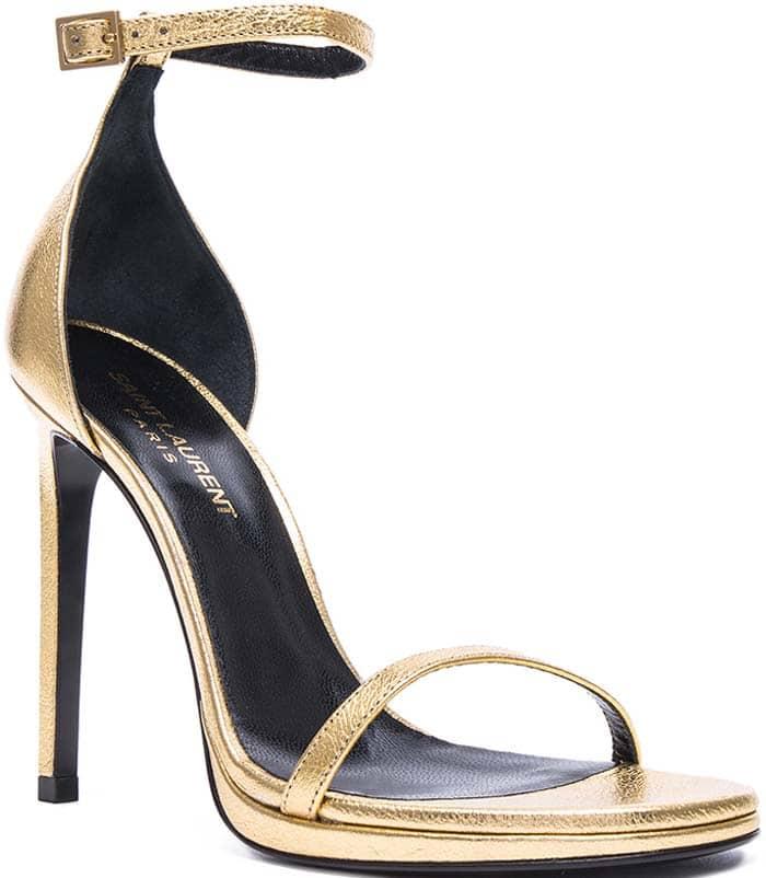 Saint Laurent Metallic Leather 'Jane' Sandals in Gold