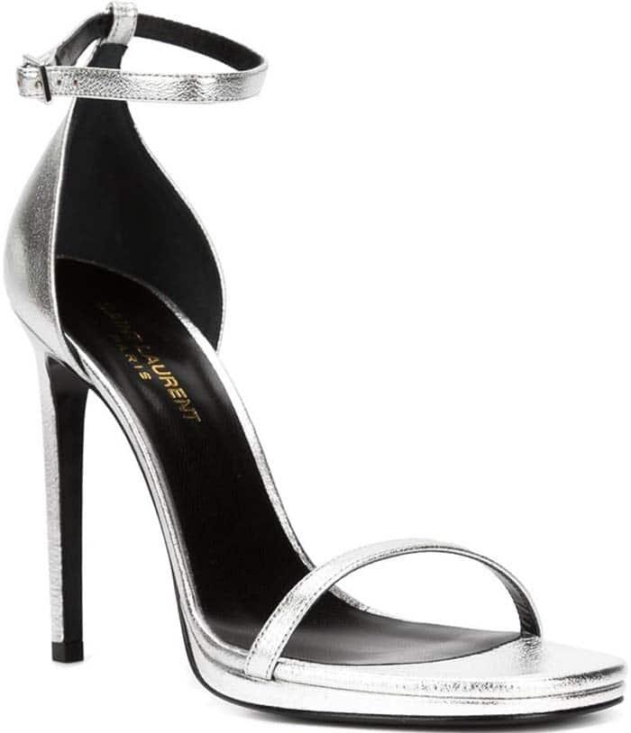 Saint Laurent Metallic Leather 'Jane' Sandals in Silver