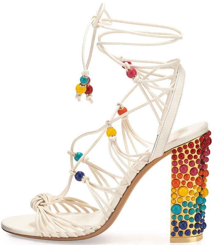 Salvatore Ferragamo Rainbow Beaded Gladiator Shoes