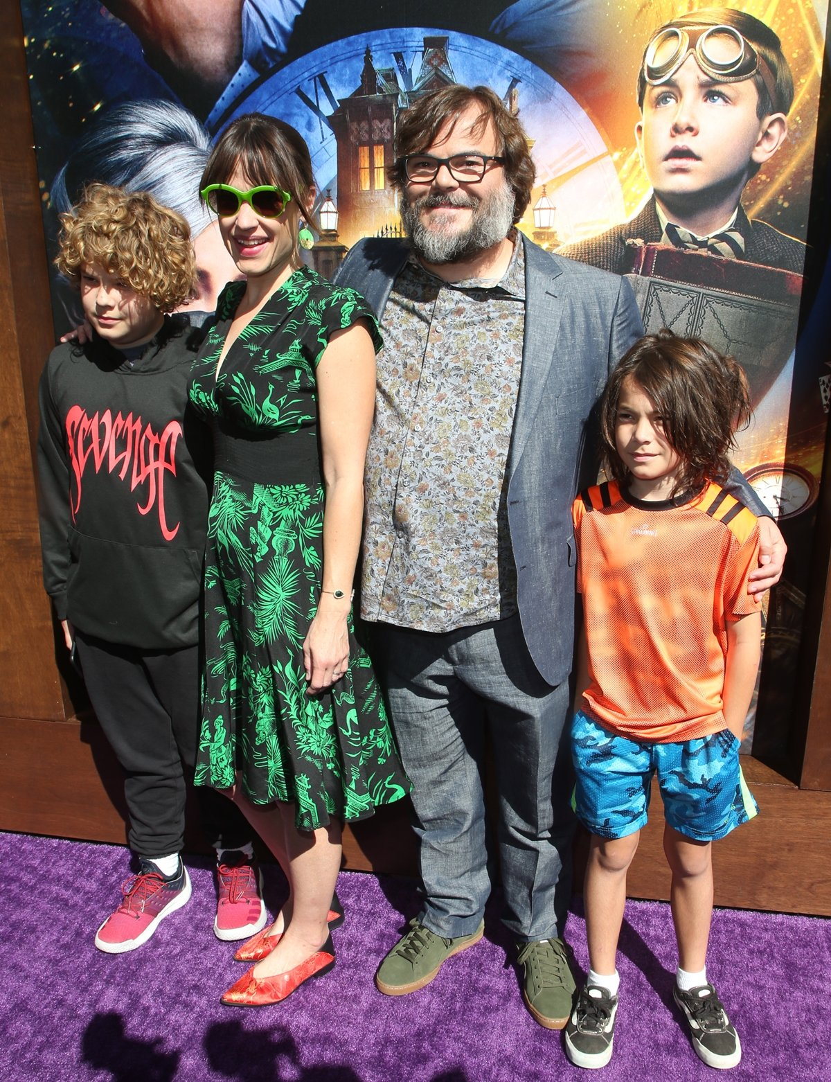 """Samuel Black, Tanya Haden, Jack Black, and Thomas Black arrive for the Premiere Of Universal Pictures' """"The House With A Clock In Its Walls"""""""