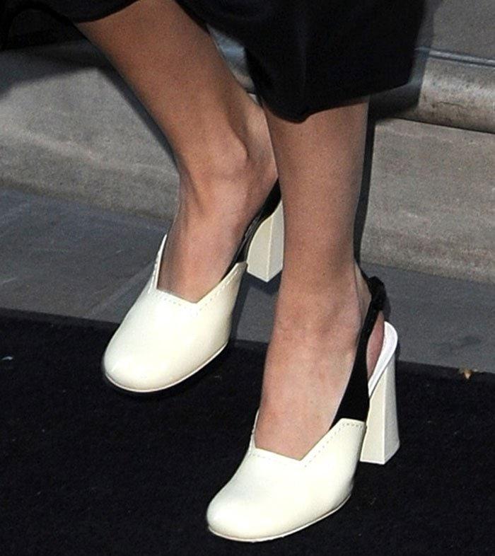 Selena-Gomez-Celine-black-white-slingback-pumps