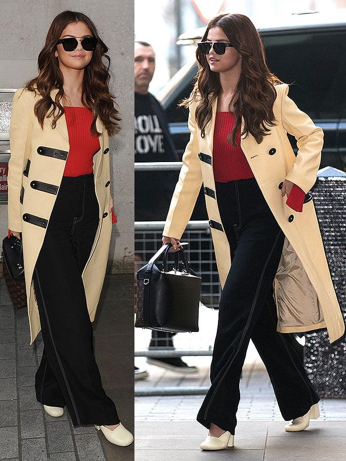 Selena Gomez Louis Vuitton trench Celine pumps