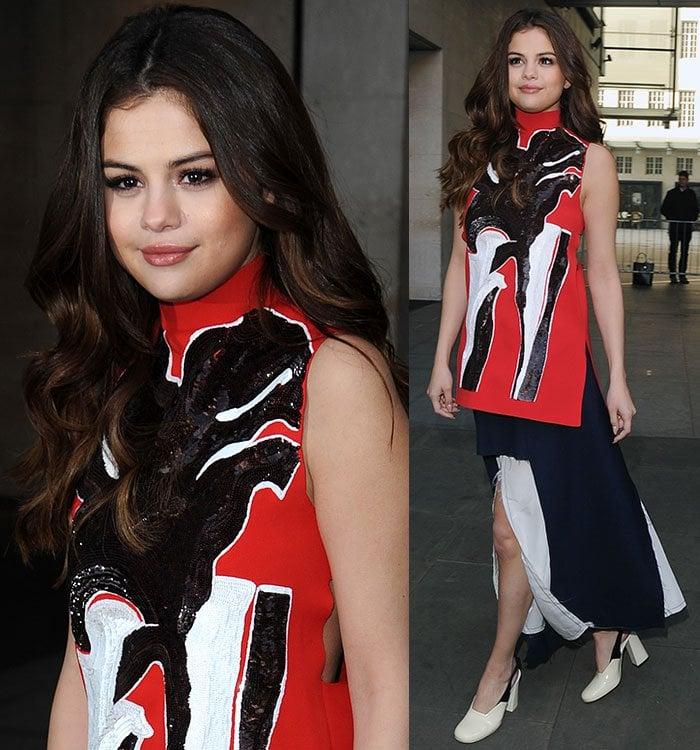 Selena-Gomez-Marni-Red-Sequined-Top-Blue-Split-Skirt