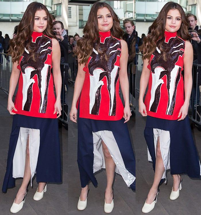 Selena-Gomez-Marni-red-top-blue-center-slit-skirt