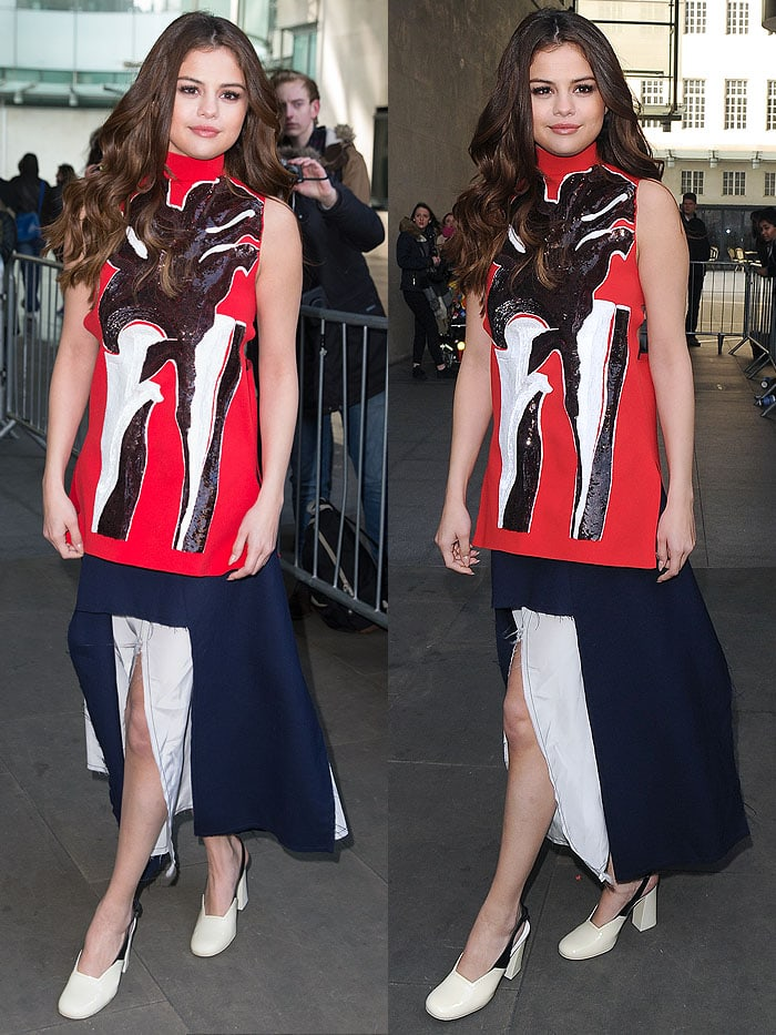 Selena Gomez Marni sweater skirt Celine pumps