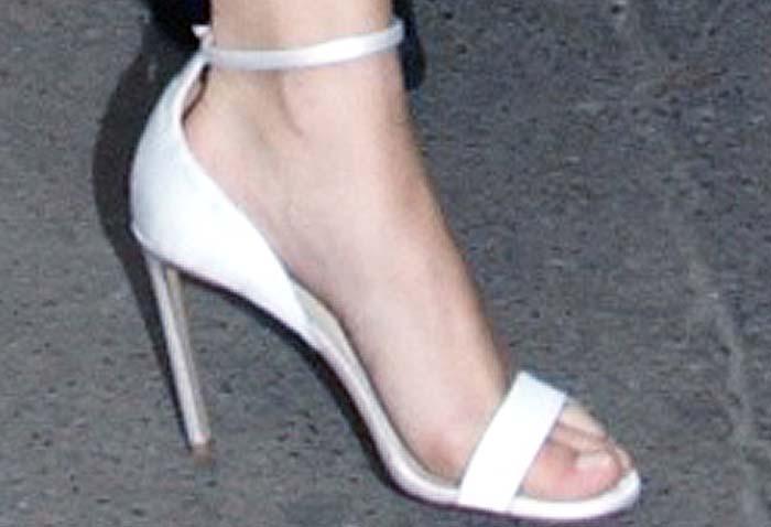 Selena Gomez's feet in white Francesco Russo sandals