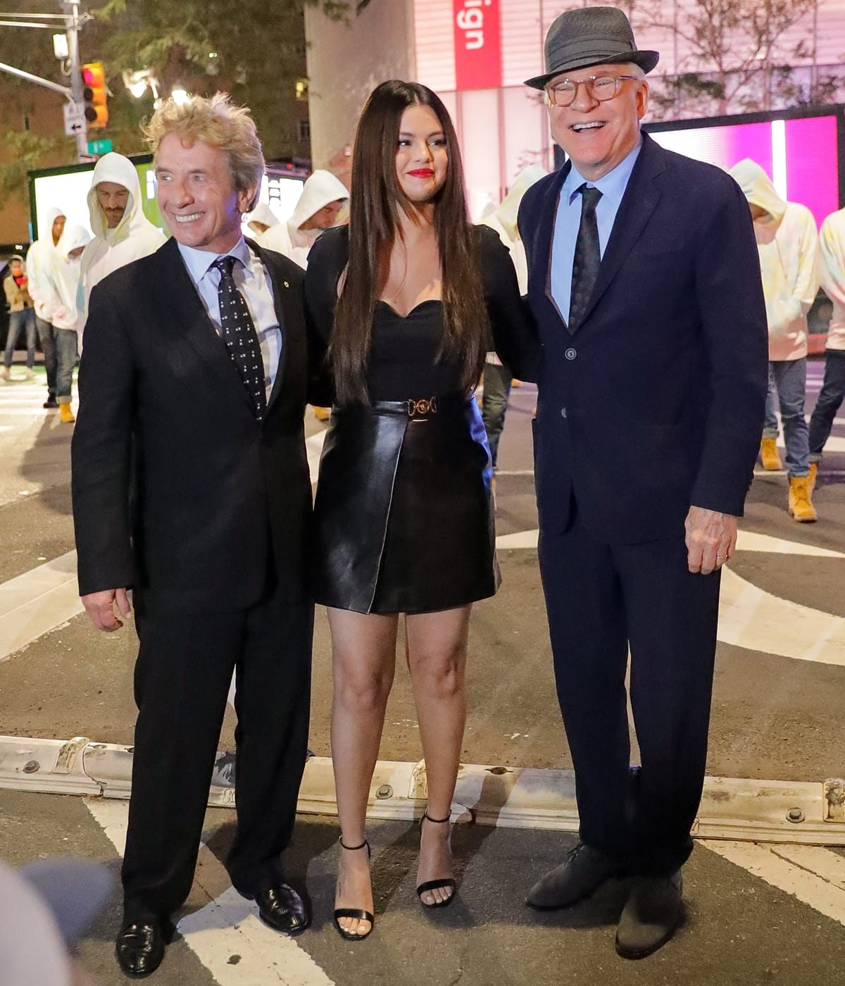 Selena Gomez, Steve Martin, and Martin Short promoting Only Murders in the Building