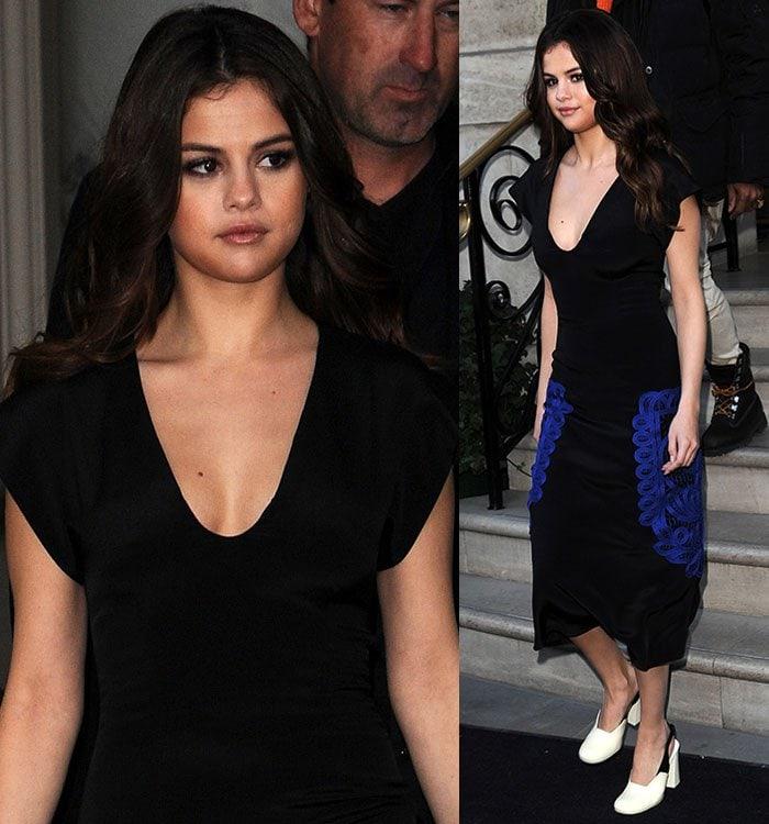Selena-Gomez-Victoria-Beckham-plunging-black-blue-dress