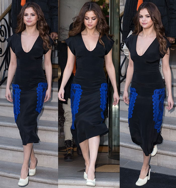 Selena-Gomez-Victoria-Beckham-plunging-black-dress-blue-embroidery
