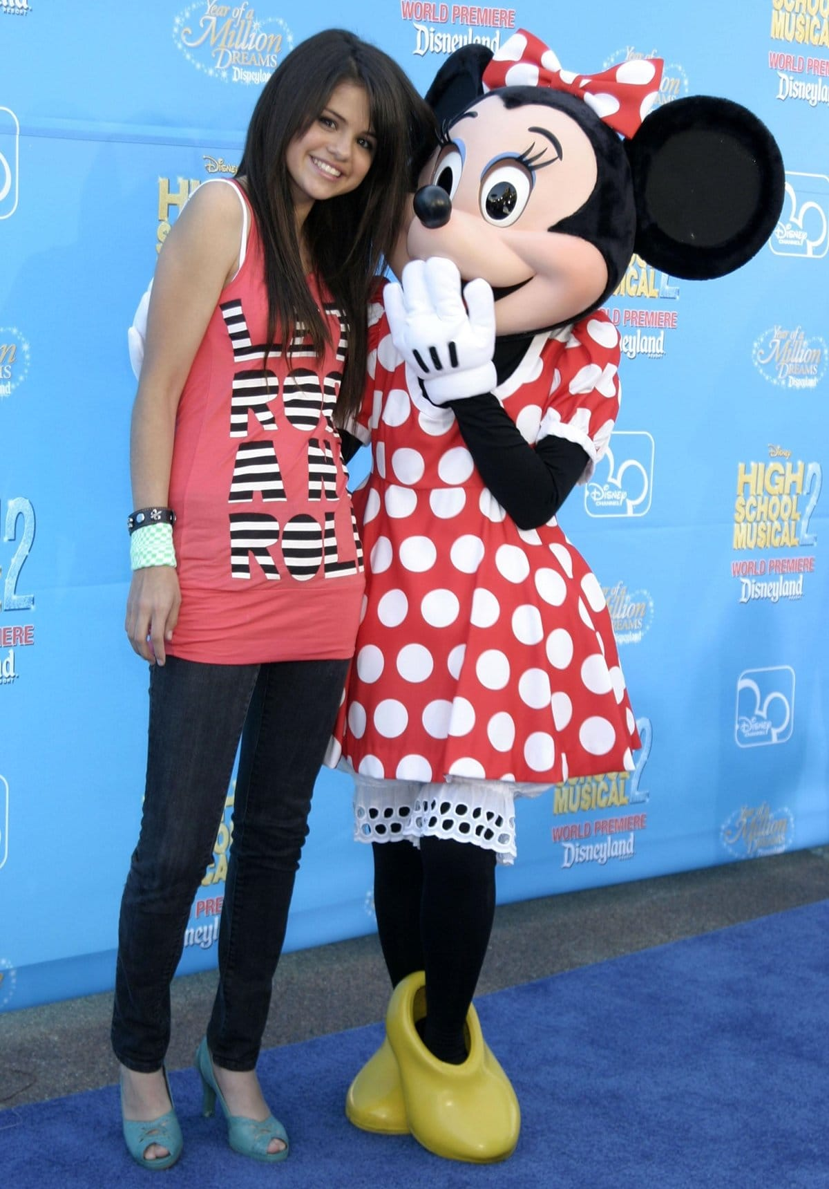 """Actress Selena Gomez and character Minnie Mouse arrive at the world premiere of Disney Channel's """"High School Musical 2"""""""