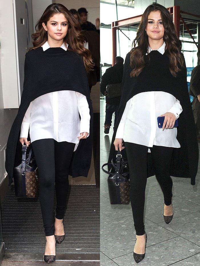 Selena Gomez black poncho mesh pumps