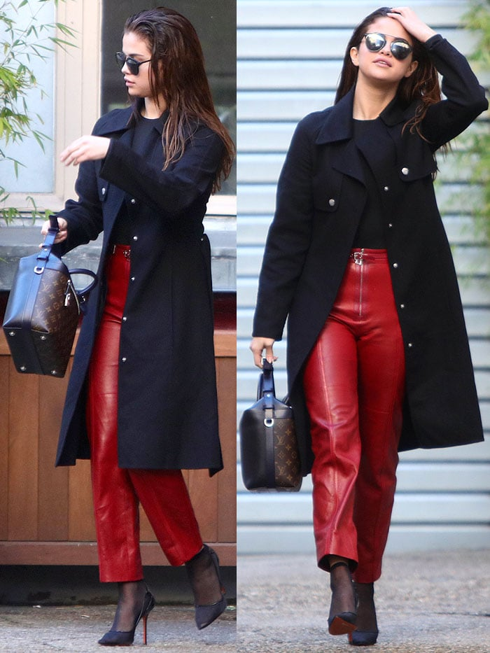 Selena Gomez red leather pants