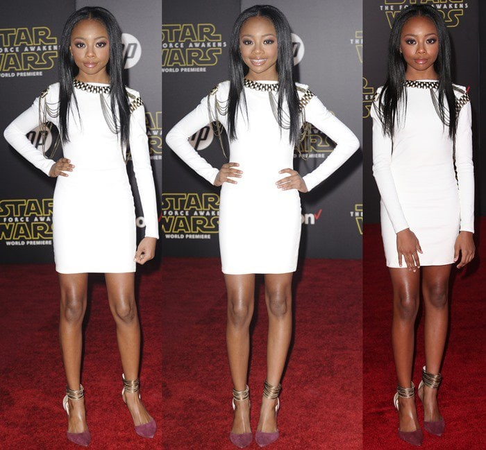 """Skai Jackson in pointy-toe """"Nayz"""" pumps from Vince Camuto and a short white dress"""