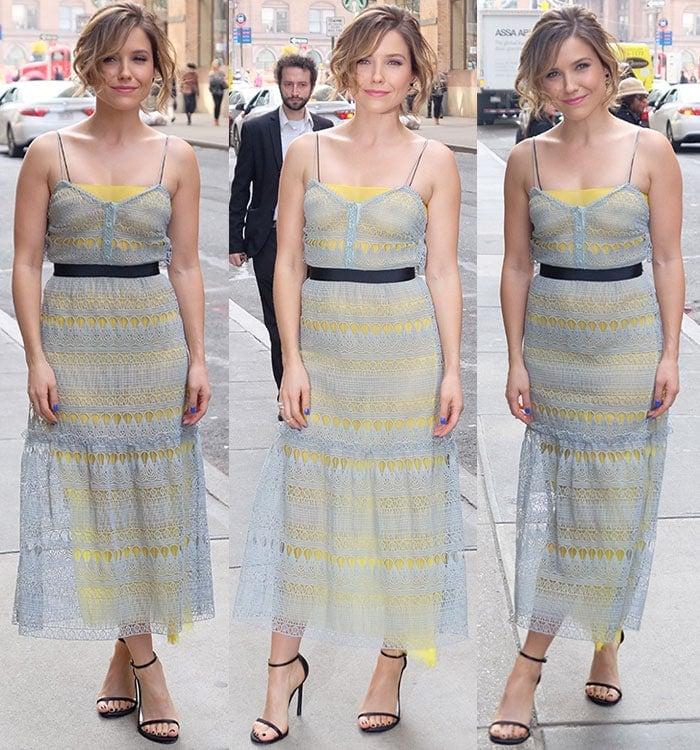 Sophia-Bush-Self-Portrait-lace-overlay-spring-dress
